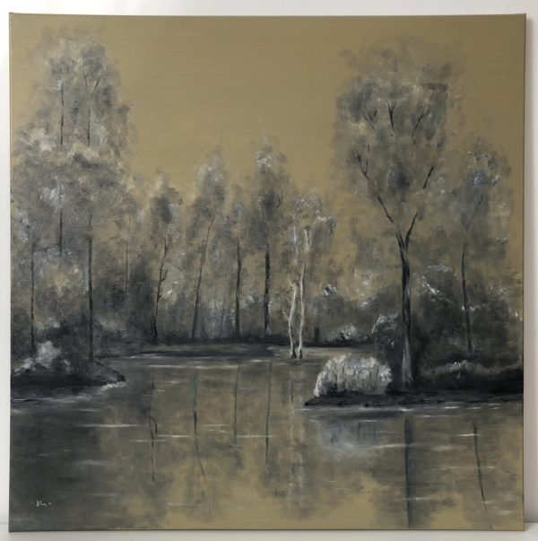 Erdő a tónál olajfestmény