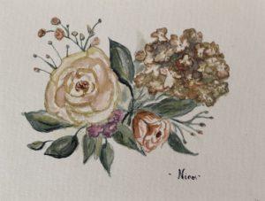 akvarell hortenzia