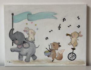 gyermek elefántos olajfestmény